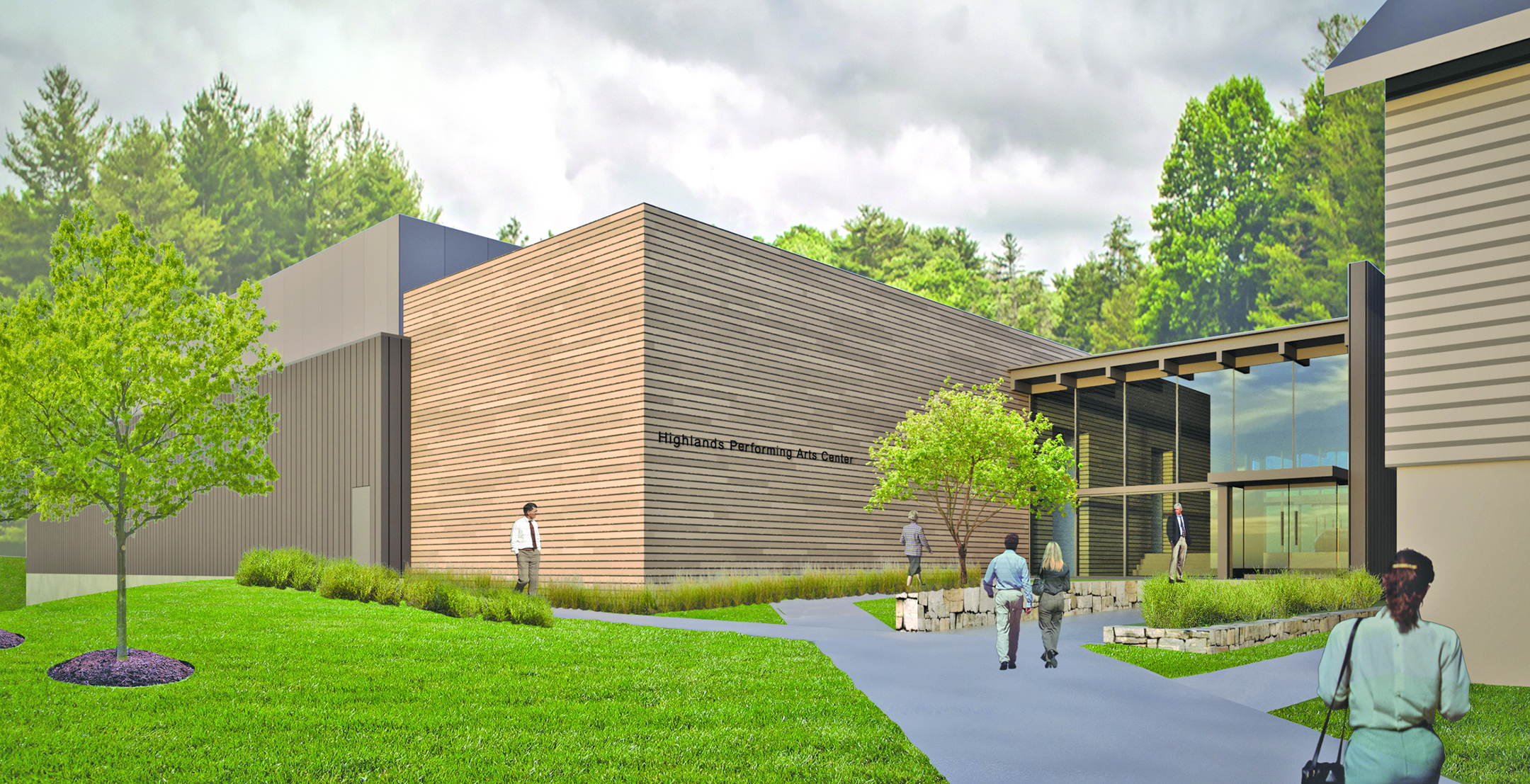 This artists rendering shows what an expanded Highlands Performing Arts Center may look like once the project is complete.