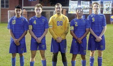 Highlands soccer seniors Carlos May-Gomez, Dillon Schmitt, Bill Miller, Pablo Jimenez and Patrick Woods were honored at Tuesday's game against Hayesville.