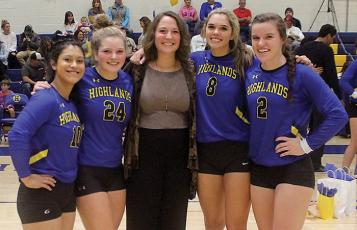The 2019 Highlands volleyball team seniors were honored on senior night during the team's final home match of the season against Cherokee. Seniors are, from left:, Morgan Olvera, Jeslyn Head, Sayla Roman, Bailey Schmitt and Kedra McCall.