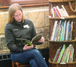 Highlands Nature Center education specialist Paige Engelbrektsson gets ready for a Knee-High Naturalist class.
