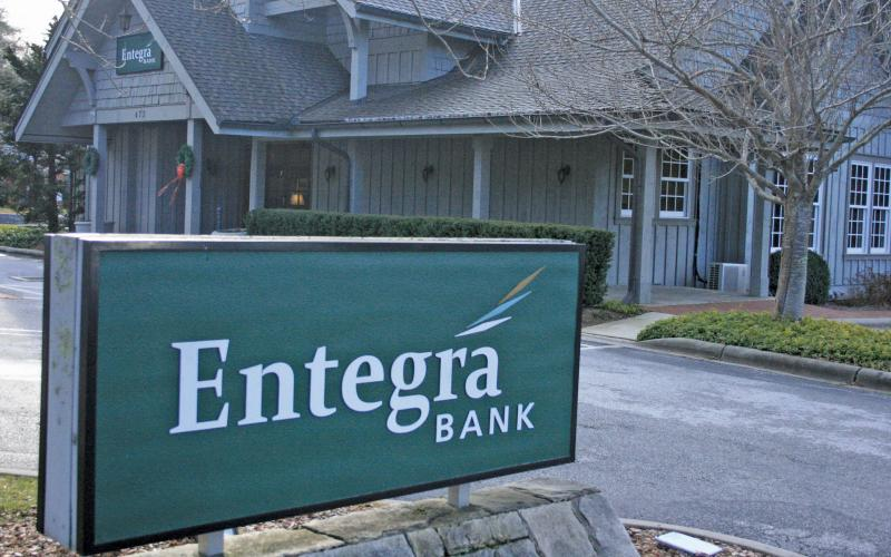 The Entegra Bank branch on Carolina Way in Highlands will be divested as part the company's impending merger with First Citizens Bank.