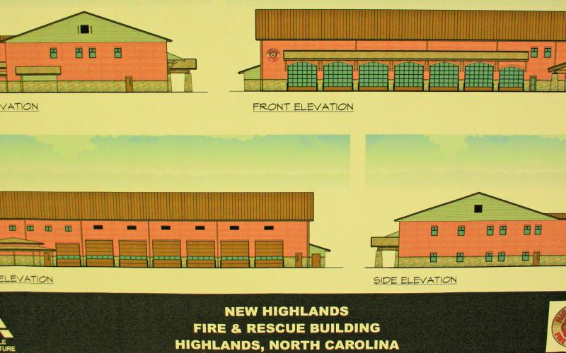 Architectural drawings of the new fire station to be built on Franklin Road.