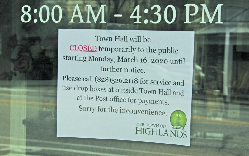 The Town of Highlands has closed Town Hall and the Rec Center to the public until further notice.