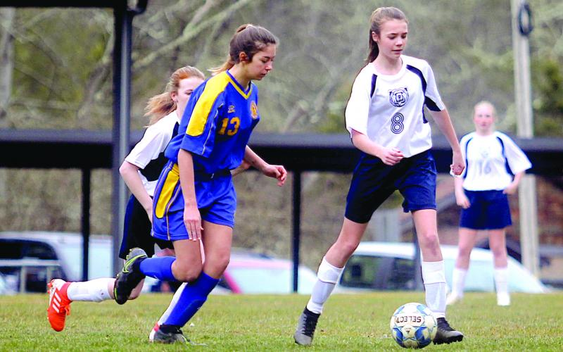 Striker Caitlin Tingen scored one goal in the Lady Highlanders' 7-1 win over Summit Charter School.