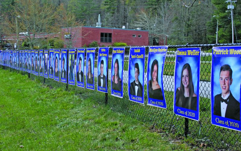Highlands School seniors are being honored with a display along the track on 5th Street.