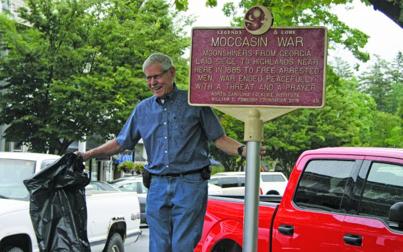 Highlands historian Ran Shaffner unveiled a historical marker in 2019 highlighting the Moccasin War that took place in Highlands in 1885.