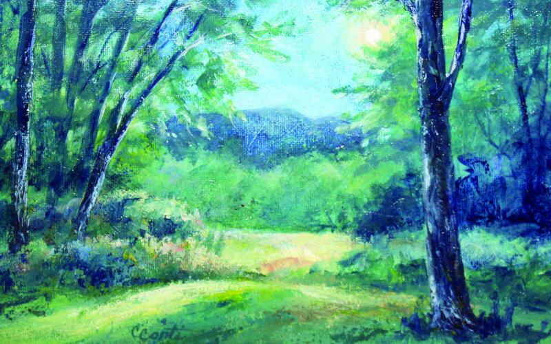 """In the Stillness"" by artist Carol Conti is a representation of what Bartram may have seen and felt during his travels through Western North Carolina."