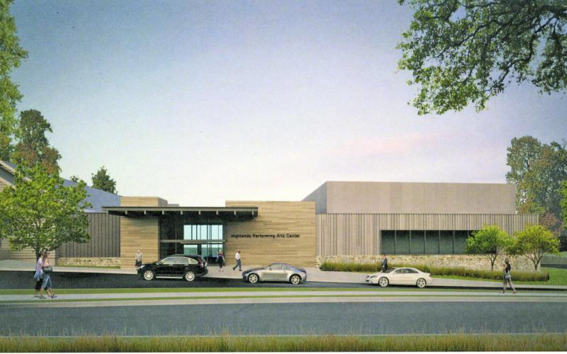 This artists rendering shows what the exterior of the Highlands Performing Arts Center will look like once a renovation and expansion project is completed at the Chestnut Street facility.