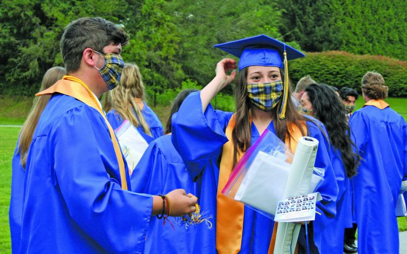 Face coverings were a requirement during the Highlands School graduation in August. The ceremony was held outside to accommodate social distancing due to the COVID-19 pandemic.